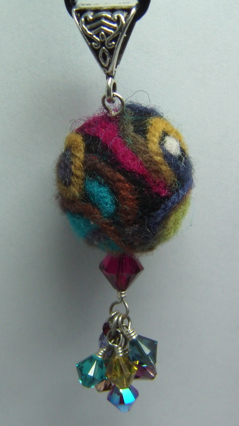Needle Felted Waves Pendant